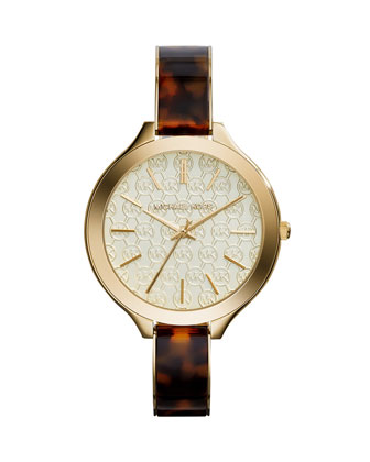 Slim Runway Monogram Tortoise Acetate Watch