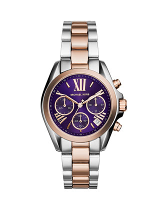 Mini Rose Golden/Stainless Steel Bradshaw Purple-Dial Chronograph Watch