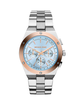 Reagan Stainless Steel/Rose Golden Blue-Dial Chronograph Watch