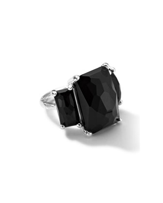 Sterling Silver 3-Stone Large Rectangle Cocktail Ring in Onyx