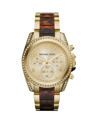 Mid-Size Golden Stainless Steel Blair Chronograph Glitz Watch