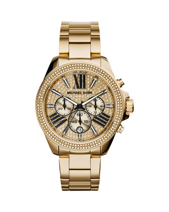 Wren Full Pave Golden Stainless Steel Watch