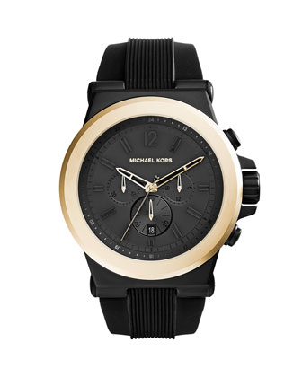 Oversized Dylan Silicone Golden Chronograph Watch, Black