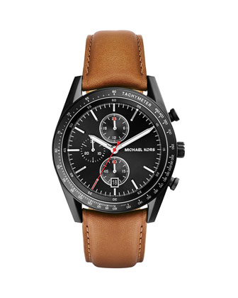 Leather-Strap Accelerator Chronograph Watch