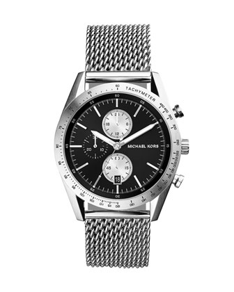 Silver Stainless Steel Mesh-Strap Accelerator Watch