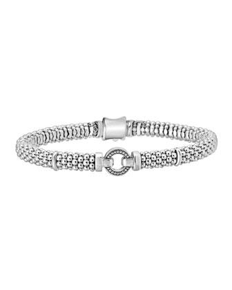 6mm Sterling Silver Enso Caviar Bracelet