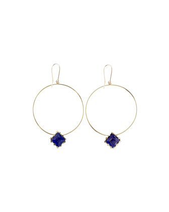 Splash Lapis-Square Hoop Earrings