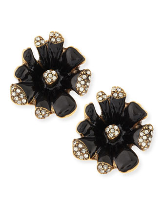 Black Enamel Orchid Earrings