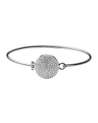 Silvertone Pave Hinge Bangle