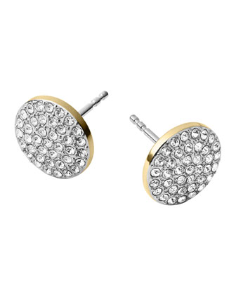 Golden/Silver Pave Disc Earrings