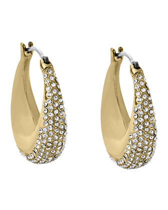 Golden Pave Hoop Earrings