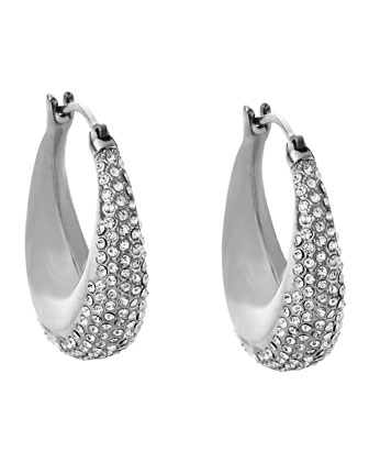 Silvertone Pave Hoop Earrings