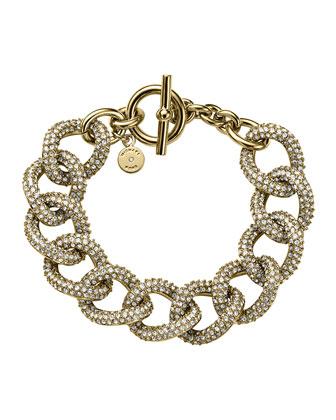 Golden Pave Curb-Link Bracelet