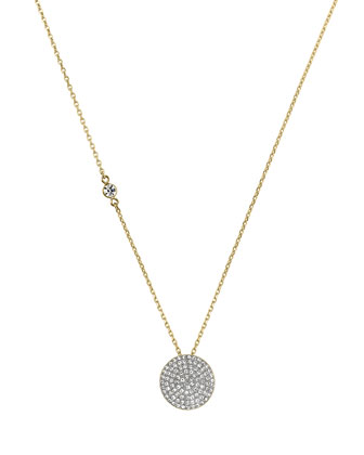Golden Pave Disc Pendant Necklace
