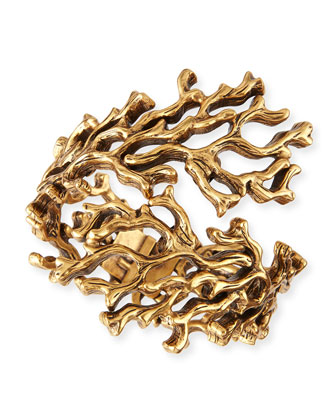 Golden Coral Branch Bracelet
