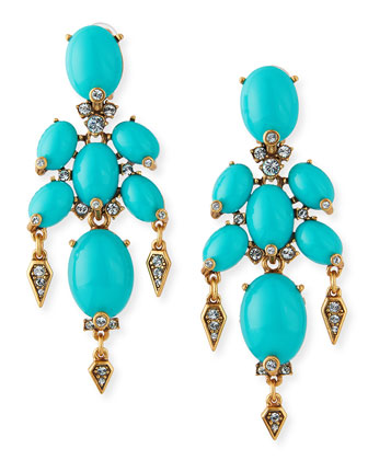 Oval Cabochon Clip-On Earrings, Aqua