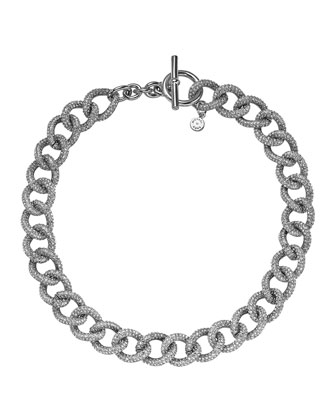 Silvertone Pave Curb-Link Toggle Necklace