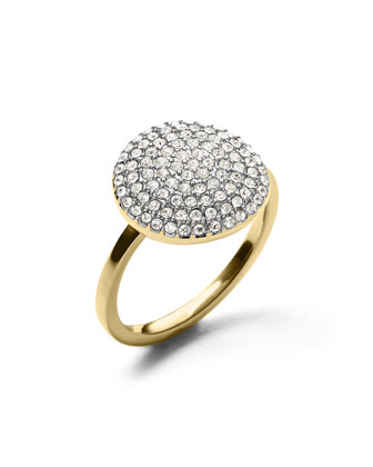 Golden Large Pave Disc Ring