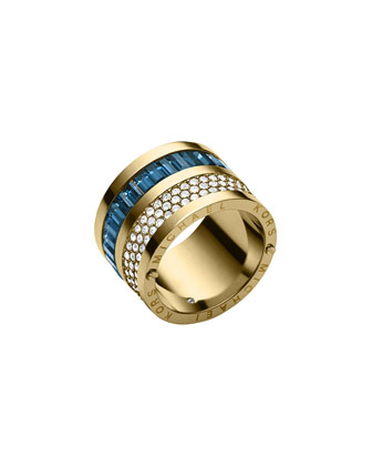 Golden Pave/Montana Baguette Barrel Ring