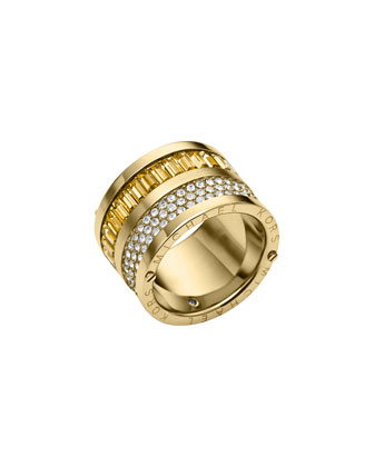 Golden Pave/Light Topaz Barrel Ring