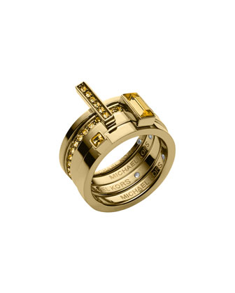 Golden Light Colorado Topaz Stackable Rings Set