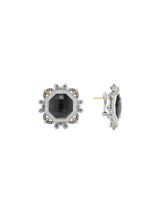 Empress Hematite Doublet Earrings with Omega Clip