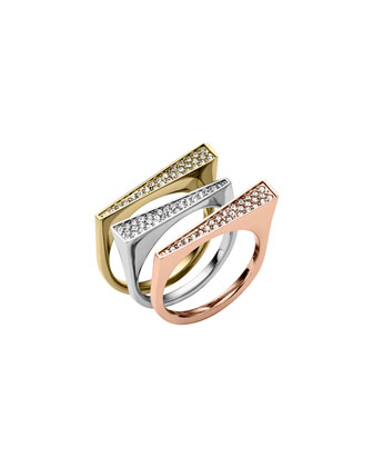 Tricolor Pave 3-Ring Set