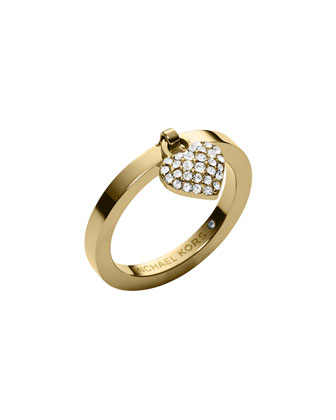 Golden Pave Puffy Heart Charm Ring