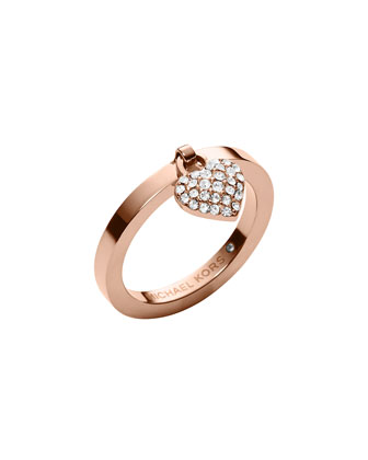 Rose Golden Pave Puffy Heart Charm Ring
