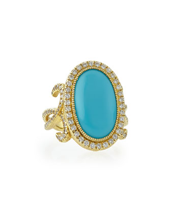 Oval Turquoise Florentine Ring with Diamonds