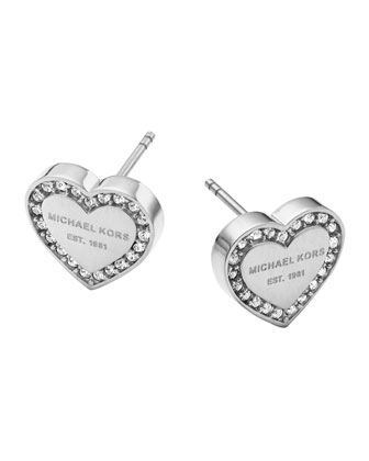 Silvertone Pave Logo Heart Earrings