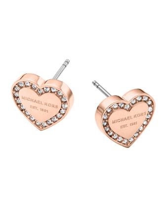 Rose Golden Pave Logo Heart Earrings