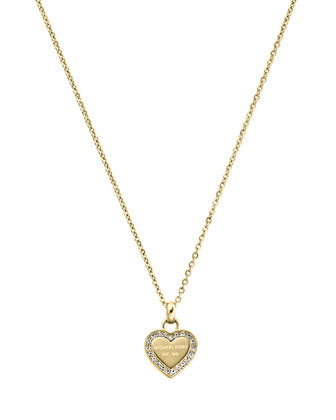 Golden Pave Logo Heart Necklace