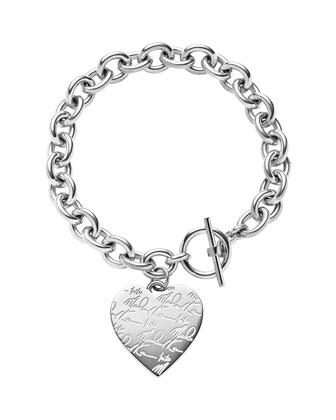Silvertone Etched MK Heart Bracelet