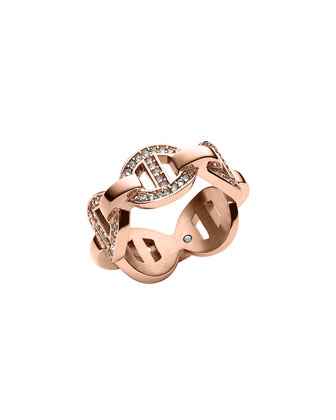 Rose Golden Pave Maritime Link Ring