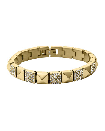 Golden/Pave Pyramid Tennis Bracelet