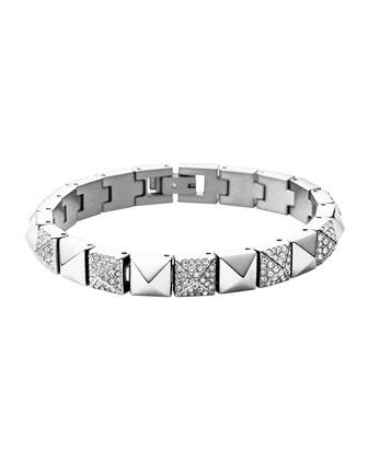 Silvertone/Pave Pyramid Tennis Bracelet