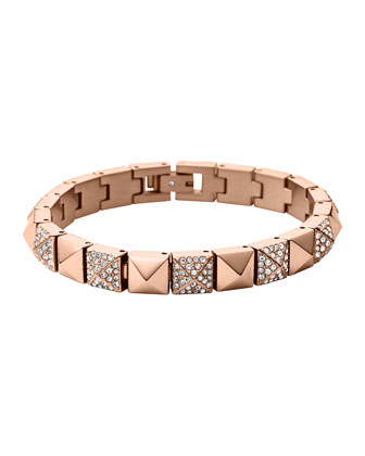 Rose Golden/Pave Pyramid Tennis Bracelet