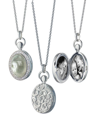 Prasiolite/Mother-of-Pearl Locket Necklace