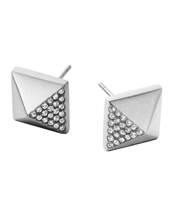 Silvertone Pave Pyramid Earrings