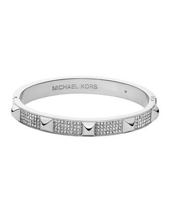 Silvertone Pave Pyramid Bangle