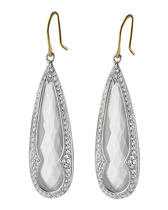 Rock Crystal & White Sapphire Drop Earrings