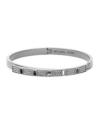 Silvertone Pave Slim Turn-Lock Bangle