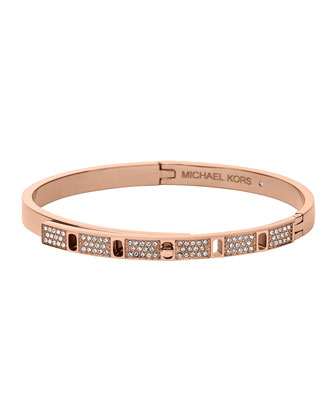 Rose Golden Pave Slim Turn-Lock Bangle