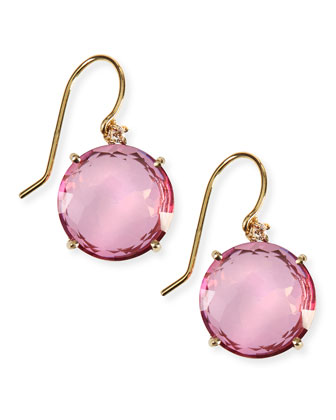 14k Yellow Gold Wire Drop Earrings in Pink Topaz
