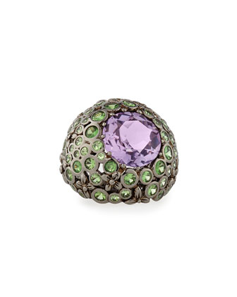 Floral-Carved Ring with Amethyst & Tsavorite