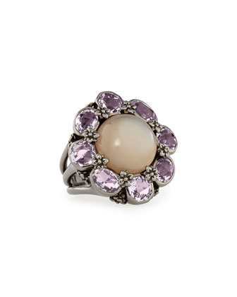 Moonstone & Amethyst Flower Ring