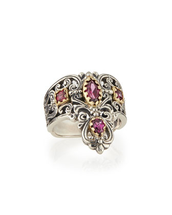 Silver & 18k Gold Rhodolite Pointed Scroll Ring