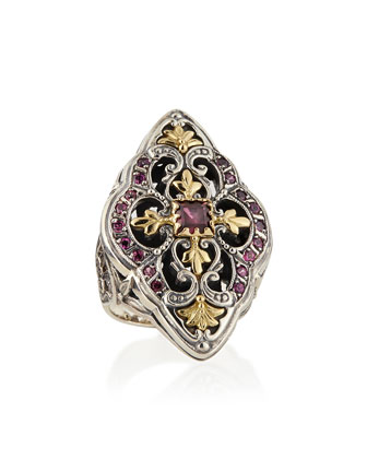 Silver & 18k Gold Rhodolite Marquise Flower Ring