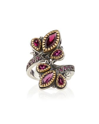 Silver & 18k Gold Rhodolite Flourish Bypass Ring